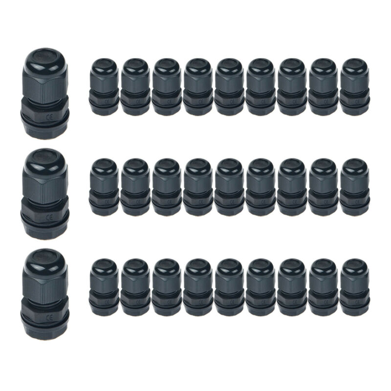 30PK Nylon Plastic Waterproof Cable Glands Joints for Electrical Junction Box