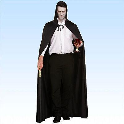 Langes schwarzes Cape m. Kapuze + verz. Gehstock Vampircape Umhang Kostüm Vampir (Schwarzes Cape Kapuze)