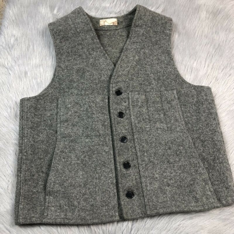 Vintage Filson Seattle Mens Gray 100% Virgin Wool Button Up Vest