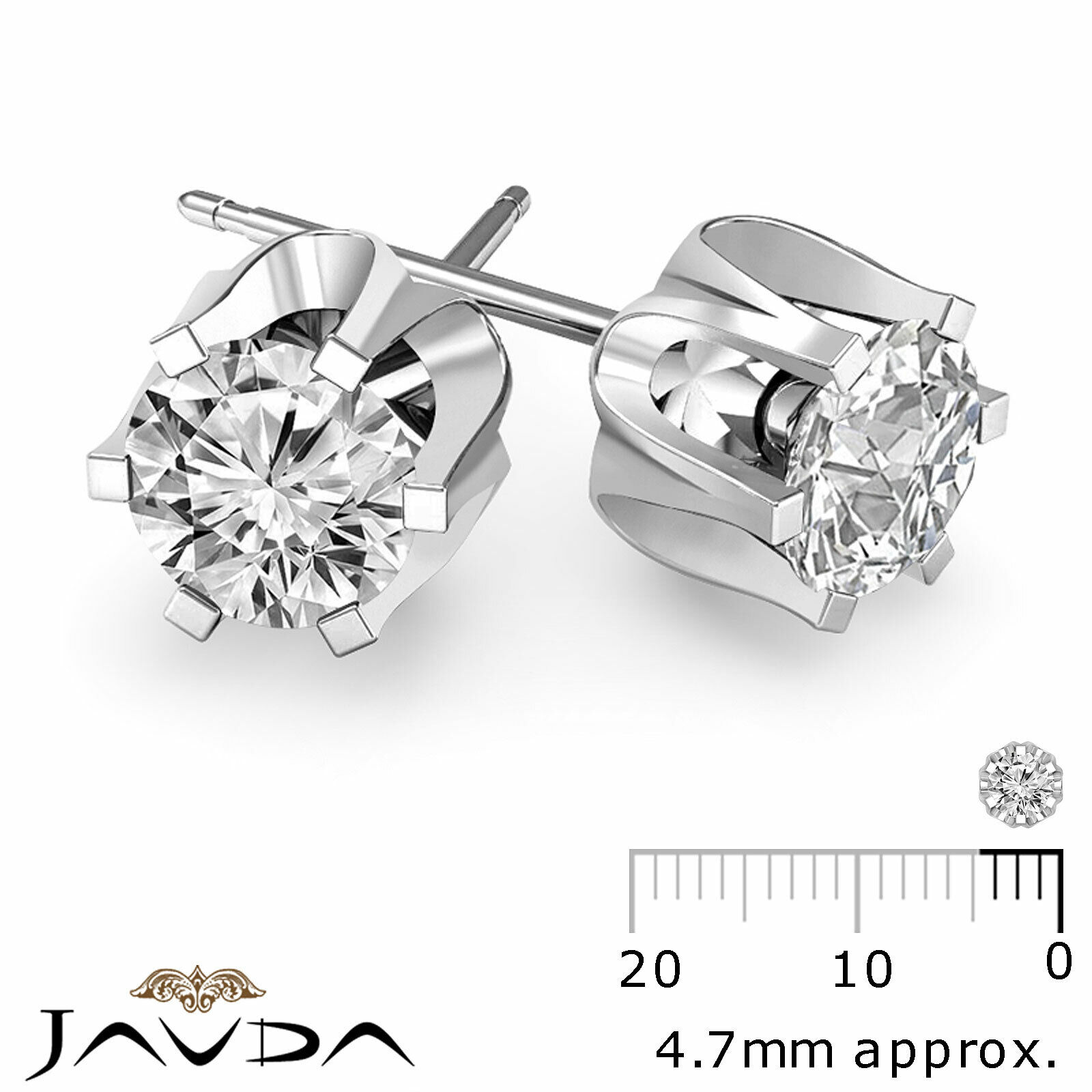 100% Natural Round Cut Diamond 1 Pair Women's Stud Earrings Gold 0.58 ctw.