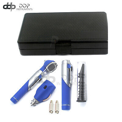 Premium Fiber Optic Mini Otoscope Opthalmoscope Diagnostic Set Ent Blue Color