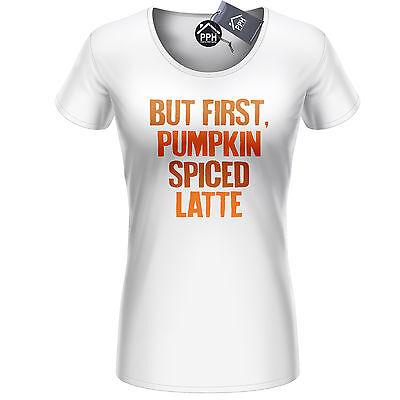 First Pumpkin Spice Latte T Shirt Mens Womens Halloween Party Drink Top 418](Halloween Latte Drinks)