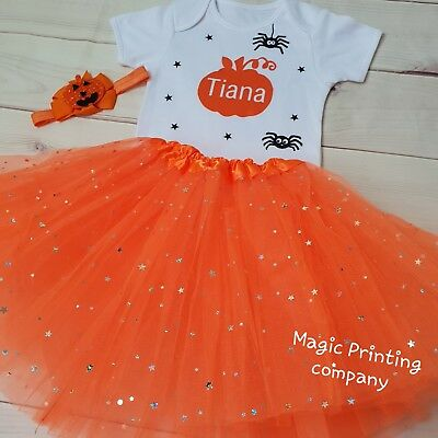 Baby Girls Pumpkin outfit Costume Halloween ANY NAME Tutu Gift Bodysuit VEST - Top Halloween Baby Names