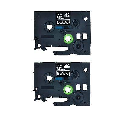2pk Tz 335 Tze 335 White On Black Label Tape For Brother P-touch Pt-1290rs 12