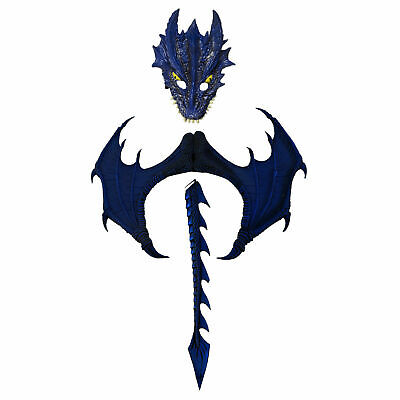 New Blue Dragon Mask, Wings and Tail Set  by HMS 74-1005 Costumania - Dragon Masks