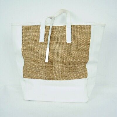 Innue White Tan Leather Woven Tote Bag Purse Saffiano Made in Italy