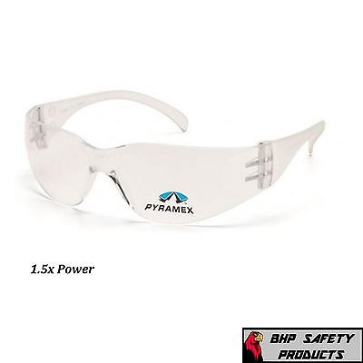 SAFETY GLASSES BIFOCAL 1.5 READER CLEAR LENS PYRAMEX INTRUDER S4110R15 (1 PAIR)
