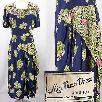 Vintage 30s Miss Plaza Dress Novelty Floral Print Draped Ruffles Rayon Dress L