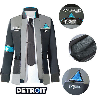 Mens Cosplay (Detroit: Become Human Connor RK800 Cosplay Costume Suit Outfit Mens Coat)