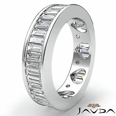 Baguette Channel Set Diamond Womens Eternity Wedding Band Platinum Ring 3.5Ct Bridal Channel Set Baguette