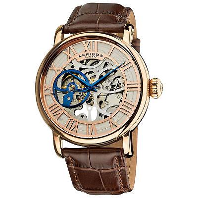 Akribos XXIV AK540RG Mens Automatic Skeleton Water Resistant Leather Strap Watch