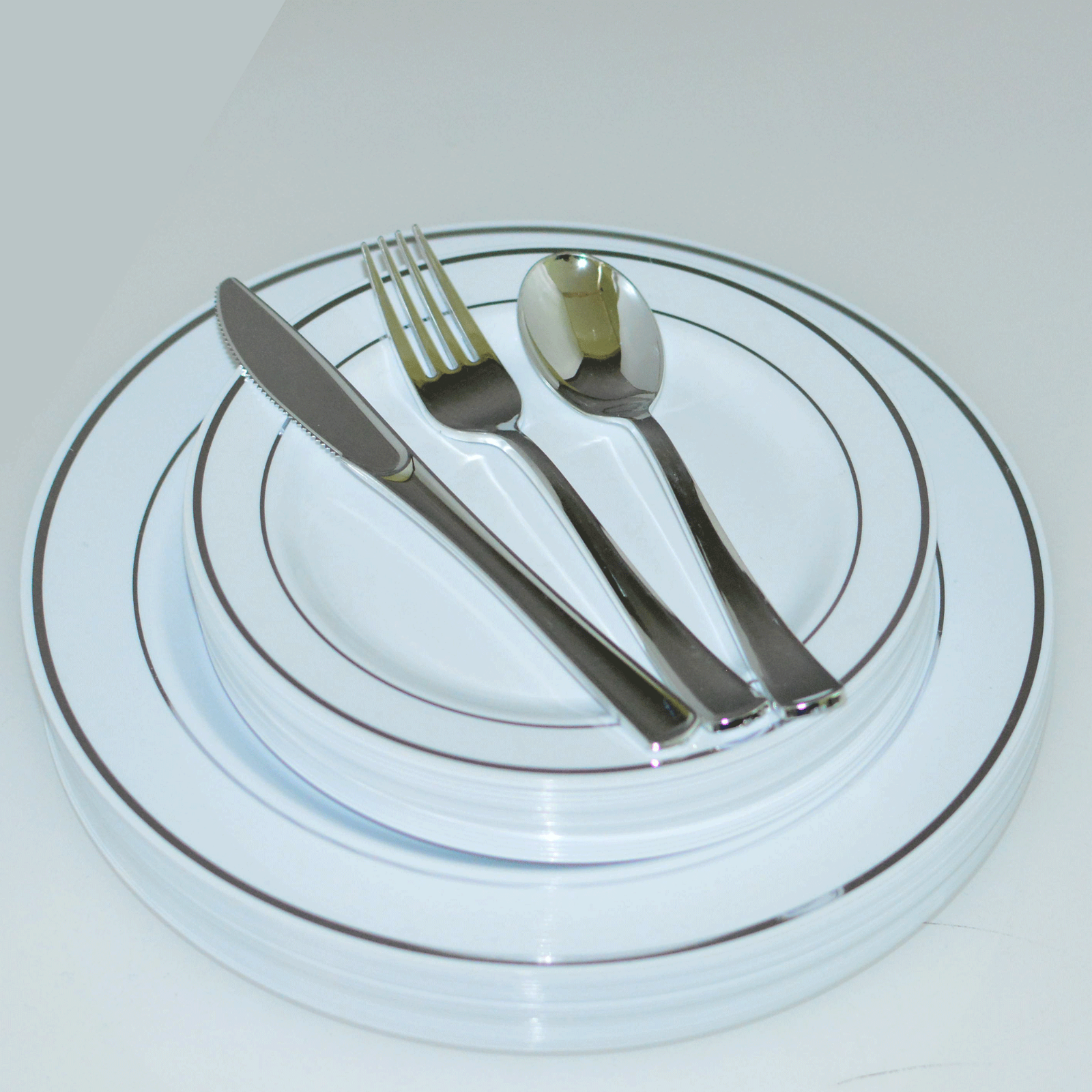 Dinner/ Wedding Disposable Plastic Plates & silverware silve
