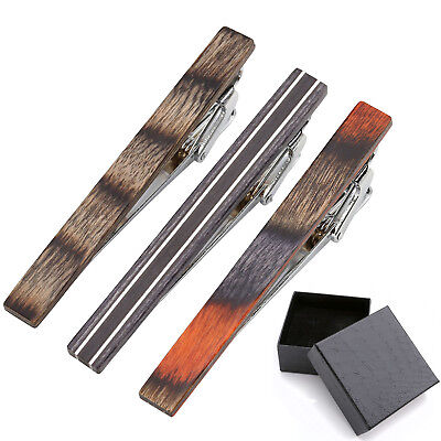 3x Men's Solid Wooden Steel Skinny Ties Necktie Clasp Tie Clip Bar Birthday Gift