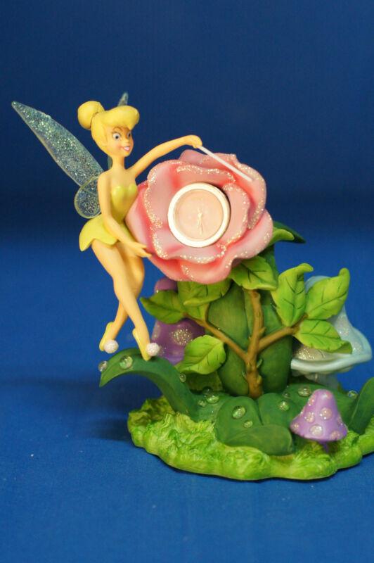 Tinker Bell Rose Desk Clock Resin Figurine Peter Pan Disney Parks Retired