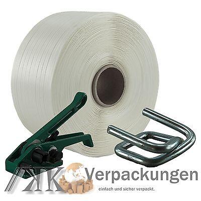 16 mm Textil Polyester Umreifung Set Umreifungsband Bandspanner Metallklemmen