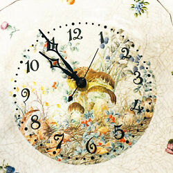Large Wall Clock Large Floral Mushroom Plastic Plate Number  Handmade Wristwatch
