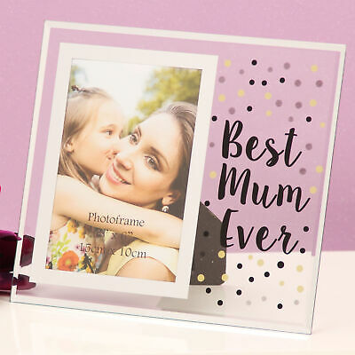 Celebration Gift Boxed Glass Dotty Design 6x4 Photo Frame - Best Mum