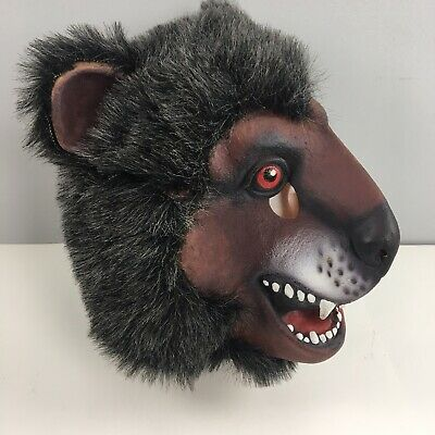 Rubber Face Masks Halloween (Wolf Mask Full Face Plastic Rubber Ears Cosplay)