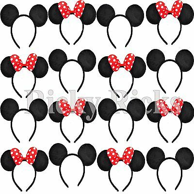 20 Minnie and Mickey Ears Headbands Black RED Bows Party Costume Favors - Minnie And Mickey Party Supplies