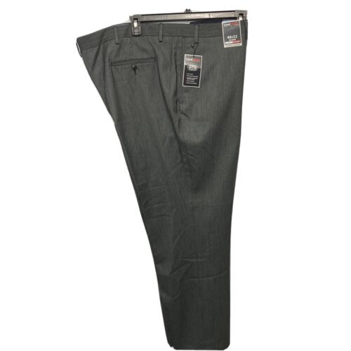 Roundtree & Yorke Travel Smart Classic Fit Flat Front Pants Slacks 48×32 Grey Clothing, Shoes & Accessories