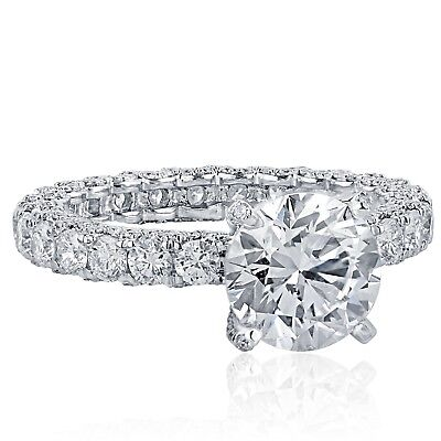 Platinum GIA Certified 4.55 Ct Round Solitaire Diamond Engagement Eternity Ring