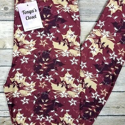 - PLUS Fall Leaves Leggings Floral Autumn Print Buttery Soft Curvy 10-18 TC