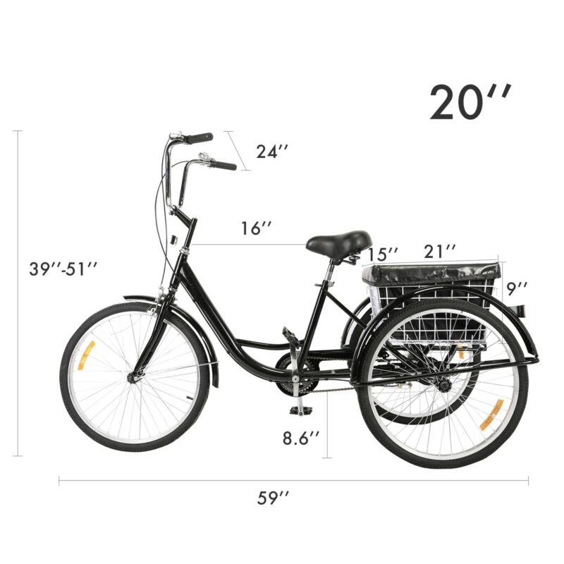 """24""""/20"""" Tricycle 3-Wheel Bike w/Basket, Liner&"""