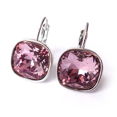 Dusty Rose Pink Drop Earrings w/ 12mm Cushion Cut Swarovski Crystal Prom Gift