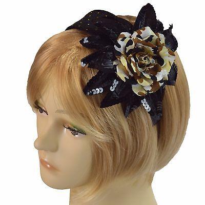 (Fascinator Black Sparkle Camo Headband Silk & Satin Hairband Grace Of New York  )