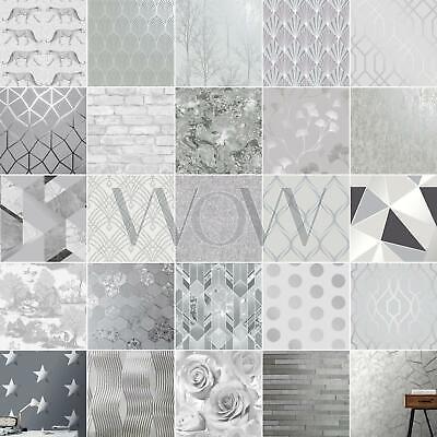 Silver & Grey Wallpaper - Geometric Floral Leaf Animal Metallic Glitter & More