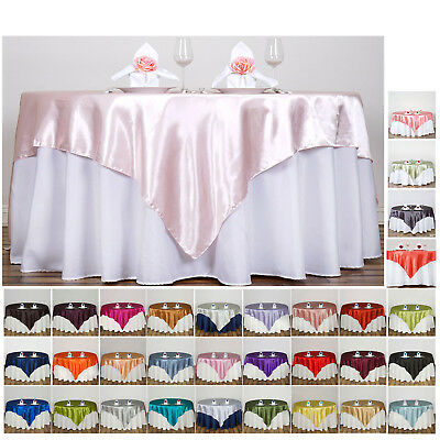"60"" SATIN Square Table Overlay For Wedding Catering Party Table Decorations"