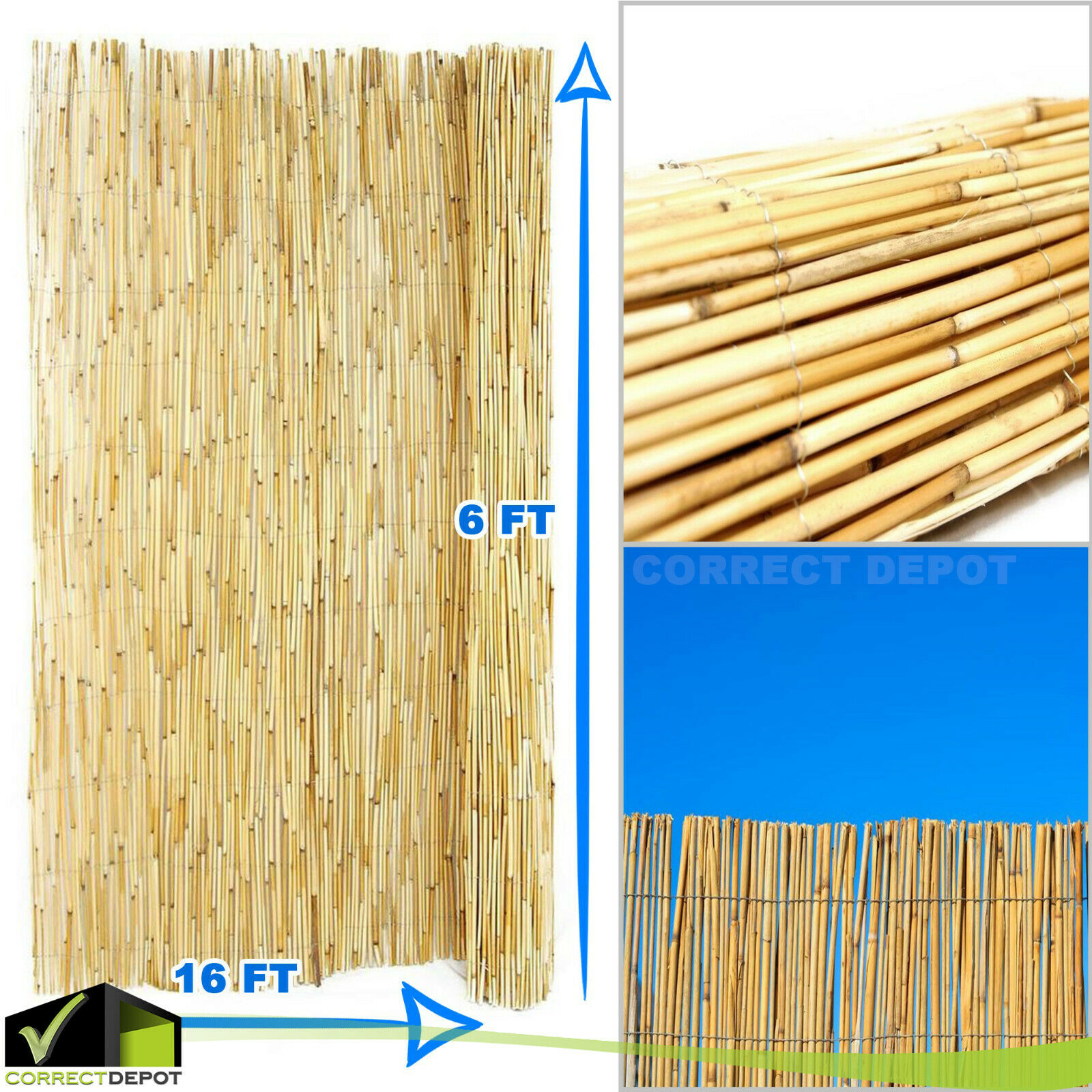 Details about 6x16' Backyard BAMBOO Reed FENCE Tiki Bar Privacy Screen  Outdoor Garden Lawn