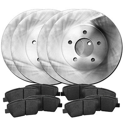 Fits 1997-2004 Mitsubishi Diamante Front Rear Plain Brake Rotors+Ceramic Pads
