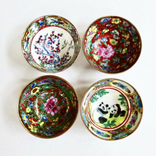 Set 4 Chinese Sake Sauce Dipping Cups Hand Painted Pandas Floral Porcelain Vtg