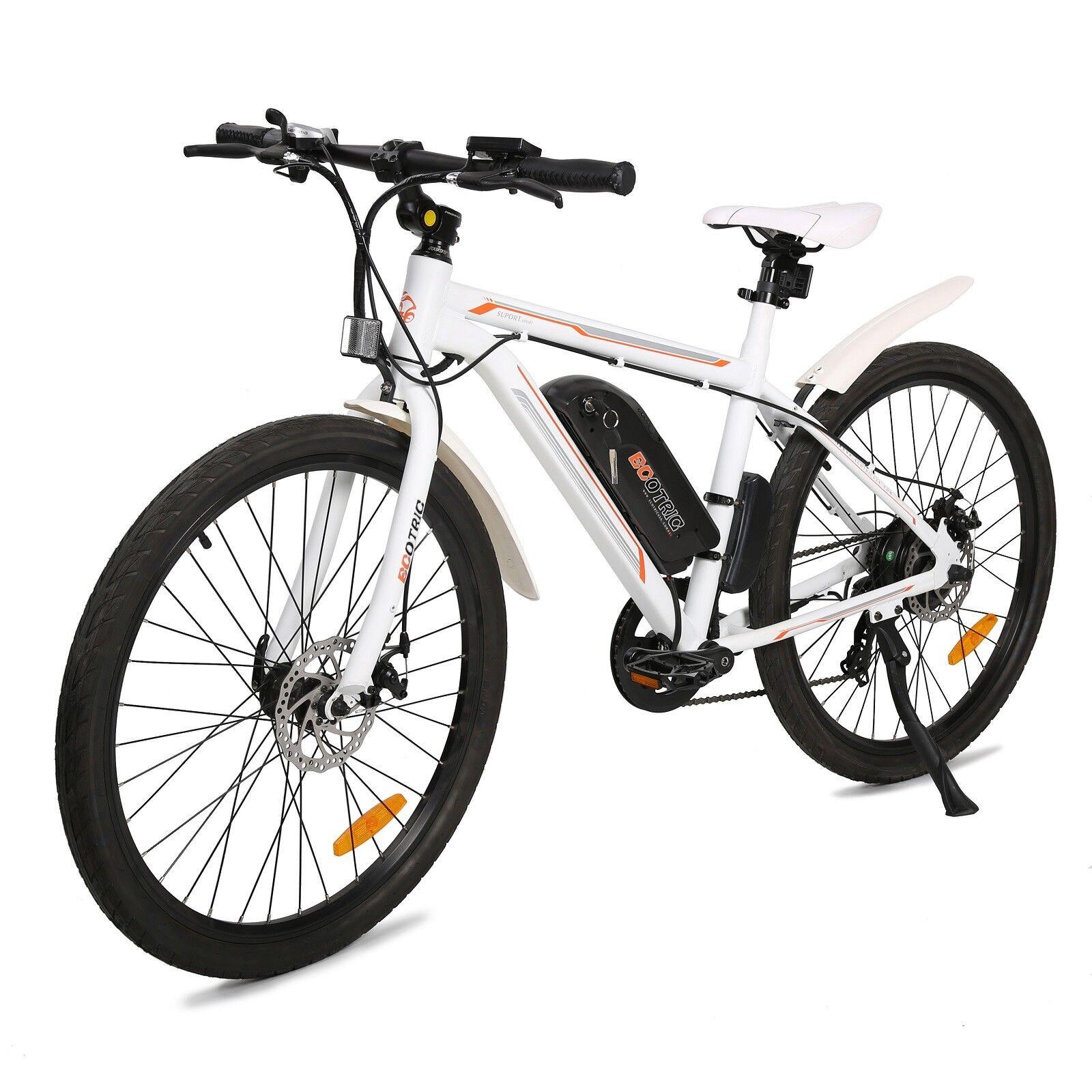 """26"""" 350W White Electric Bicycle Bike Beach City Ebike Remova"""