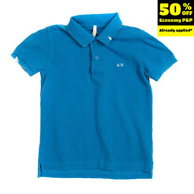 SUN68 Polo Shirt Size 4Y Pique Cotton Slit Sides