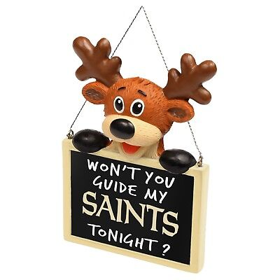 New Orleans Saints Reindeer with Sign - Resin Holiday Christmas Tree Ornament - New Orleans Saints Christmas Ornaments