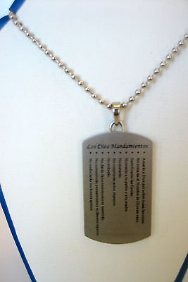 Ten Commandments Dog Tag In the Spanish language with 22 Inch Ball Chain