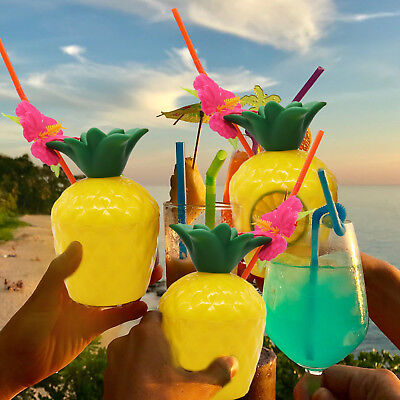 Tropical Pineapple Coconut Drink Cup Hawaii Party Plastic Cups with Flower Straw - Party Supplies Hawaii