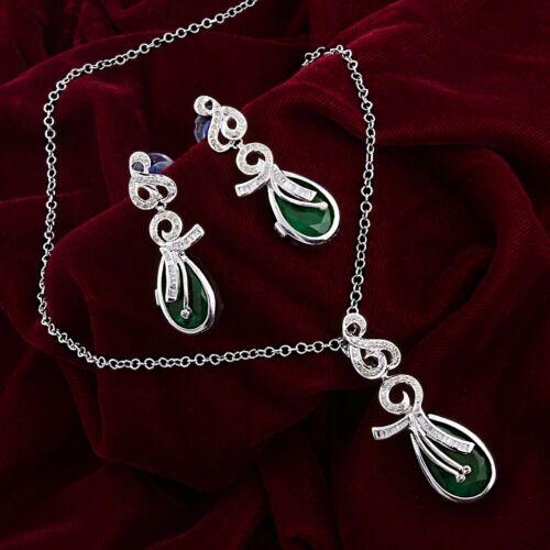 Green Onyx Diamond Pendant Earrings Set 925 Sterling Silver Gold Jewelry NEW