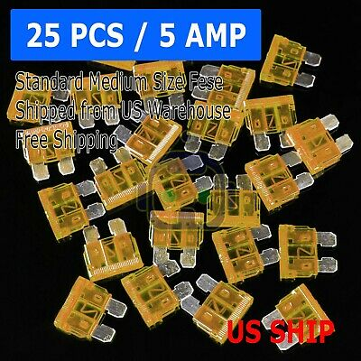 25 Pack 5 Amp ATC ATO Blade Fuse kit Auto Car Boat Marine Truck Motorcycle 5A - 5a Auto Fuse