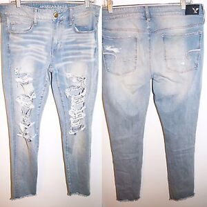 American Eagle Low-Rise Distressed Skinny Jeans