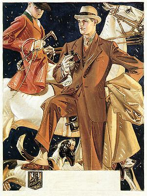 "1930 JC Leyendecker, Horse, Hunting Dog, Fashion, Vintage Clothing, 17""x13"""