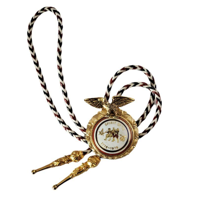 Masonic Shriner Royal Order of Jesters Billikin Bolo Tie 1976 Bicentennial