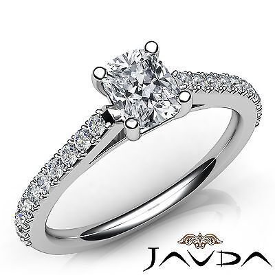 French V Pave Cushion Shape Diamond Engagement Cathedral Ring GIA F VVS2 0.75Ct