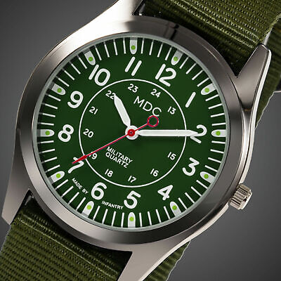 MDC Mens Quartz Wrist Watch Analog Luminous Sport Military Army Green Nylon