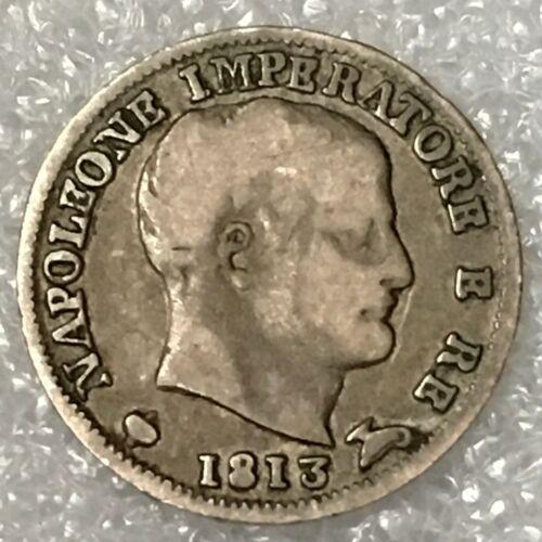 1813 M ITALY 🇮🇹 Silver 5 SOLDI Coin, NAPOLEON I BONAPARTE, (Milan), Scarce