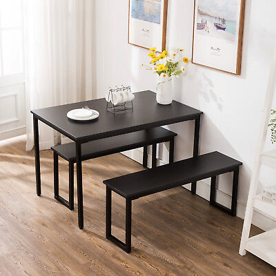 3 Piece Dining Table Set 2 Bench Chairs Wood Rectangle Kitchen Room Furniture ()