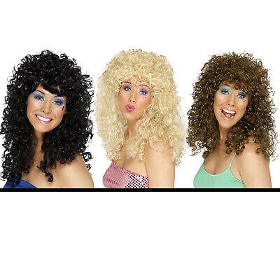Locken Perücke 70er schwarz, brunette oder blond, 70s Kostümperücke - Kostüm Locken Perücke