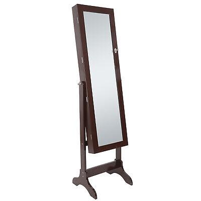 Lockable Mirrored Jewelry Cabinet Armoire Mirror Organizer Storage Box W/ Stand Mirror Jewelry Organizer